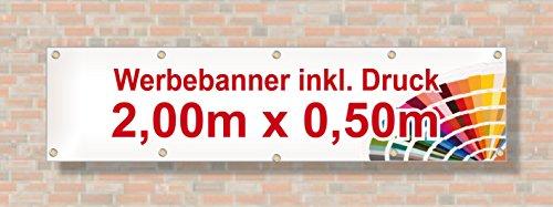 PVC Banner/Werbebanner/Werbeplane | 2m x 0,5m | inklusive Saum und Ösen | brillanter Druck - besonders stabil - wetterfest | 510g/m² | einseitig mit Ihrem Motiv bedruckt