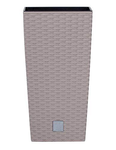 Prosperplast Blumentopf Rato Square (Rattanoptik, herausnehmbarer Einsatz, 32,5x32,5x61 cm, 49 l, mocca) DRTS325-7529U