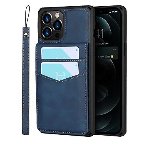 Zouzt Custodia per slot multi-scheda per iPhone 12 pro Maxcaso Custodia a portafoglio con cinturino da mano 7 porta carte di credito Custodia in pelle PU Premium Cavalletto, Cover (Blu)