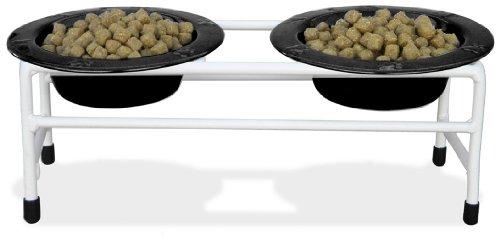 Platinum Pets Blanc Moderne Double Diner Cat Chiot/Support avec Deux Bols 1 Tasse cerclé, Noir