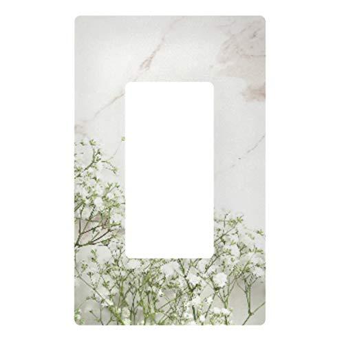 Placa decorativa de pared con interruptor de luz – cubierta de placa de interruptor de flores de mármol, cubierta de enchufe eléctrico de 2 bandas para dormitorio, cocina, decoración del hogar