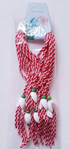 Crafts and Roses Martenitsa traditionnel bulgare Lot de 10 bracelets avec élément perce-neige, fait à la main
