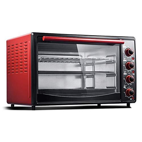 GJJSZ Horno Tostador,Horno Rojo de 45L Horno eléctrico doméstico Ajuste de Temperatura 90-240℃ y Temporizador de 60 Minutos Calefacción de Tres Capas Nueve Tubos de calefacción