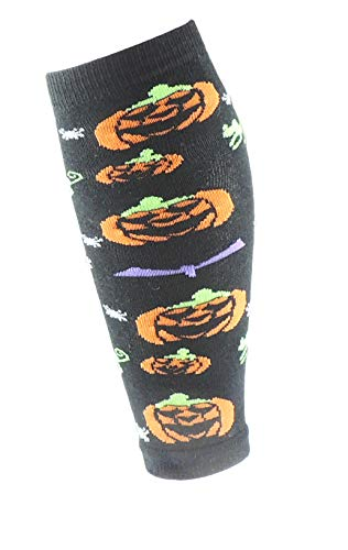 Meisjes Zwart Oranje Warm Winter Been Warmers 3-8 Jaar Halloween Enge Jack O Lantaarn Pompoen