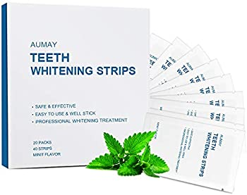 40-Count Aumay Teeth Whitening Strips with Non-Slip Tech