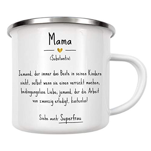 artboxONE Emaille Tasse Mama | Definition (DE) von Man ON The Milky Way - Emaille Becher Typografie