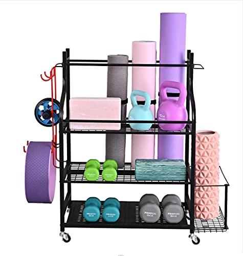 Mythinglogic Yoga Mat Storage Racks,Home Gym Storage Rack for Dumbbells Kettlebells Foam Roller, Yoga Strap and Resistance Bands, Workout Equipment Storage Organizer with Hooks and Wheels