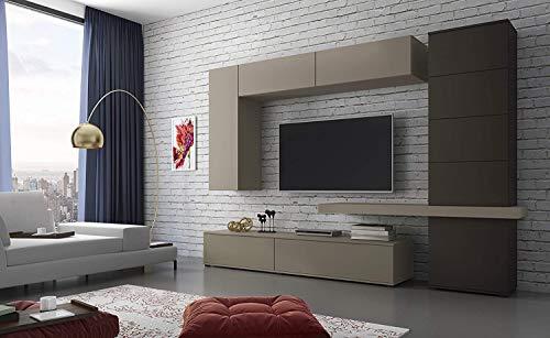 Bricozone Candia Parete Attrezzata Mobile con Colonna, Mensola, Mobili Sospesi e 2 Basi Porta TV Soggiorno Salotto in Legno Design Elegante Sala da Pranzo 300 X 210 X 50 Cm Colore Lava e Tortora