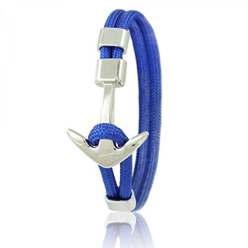 Skipper Anker-Armband mit Silbernem Edelstahl Anker für Damen und Herren - Blau 6959
