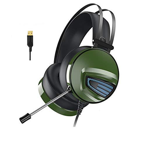 Auriculares de juego para PS4, sonido envolvente 7.1, reducción de ruido estéreo, USB profesional con micrófono, compatible con PC, Xbox One, PS4, Nintendo Switch y dispositivos móviles