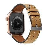 AISPORTS Compatibile con Cinturino Apple Watch 44mm 42mm in Pelle per Donna e Uomo,Cinturino Ibrido Vintage con Fibbia Classica in Metallo di Ricambio per Apple Watch Serie SE/IWatch 6/5/4/3/2/1