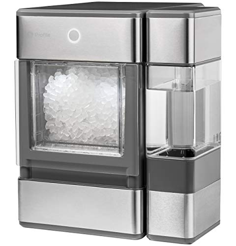 GE Profile Opal | Countertop Nugget Ice Maker, Stainless Steel Wrap with Gray Accents & LED Lighting