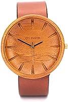 Montre en Bois pour Hommes, Ovi Watch 100% Naturel Artisanal Teck Mouvement à Quartz Japonais Montres Bracelet réglable...