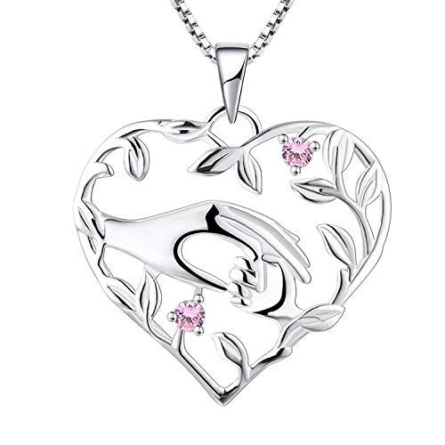 YL Mama Kette 925 Sterling Silber Oktober Geburtsstein Rosa Zirkonia Mutter halten Kinderhand Anhänger Halskette Geschenke für Mama