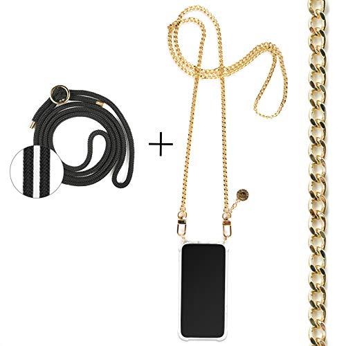 Jalouza Kette + Kordel, Handykette kompatibel mit AppleiPhone 6 / 6S / 7/8 / SE (2020), Gliederkette in Farbe Gold mit Handy Hülle zum Umhängen + Schwarze Kordel als Extra-Band, Designed in Berlin