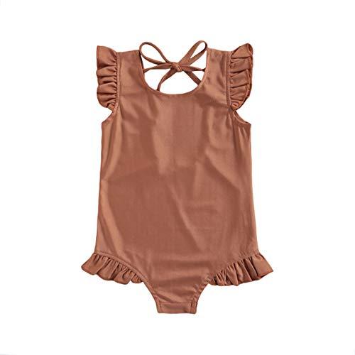 Bañador para Niña Traje de Baño Niña de Una Pieza Conjunto de Bikini Niñas Ropa de Playa con Volantes sin Espalda de Color Sólido