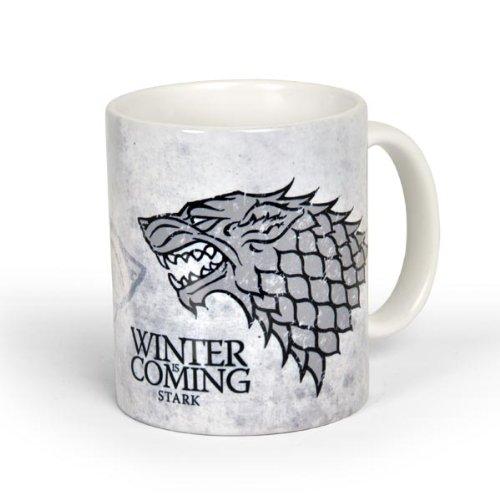 Elbenwald Game of Thrones Tasse Haus Stark Rundumdruck mit Leitspruch und Schattenwolf Kramik 300 ml weiß