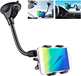 IPOW X Clamp Car Mount,6 Inches Long Arm Universal Windshield Dashboard Cell Phone