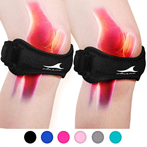 Achiou 2 Pack Patellar Tendon Support Strap, Knee Pain Relief with Silicone Adjustable Knee Band,...