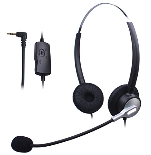 Wantek Dual Ear Call Center Telephone Headset with Mic + Volume Mute Controls for Linksys SPA 303 504G 508G 942 Grandstream Polycom Panasonic AT&T TL88002 with 2.5mm Headphone Jack(H120S04J25)