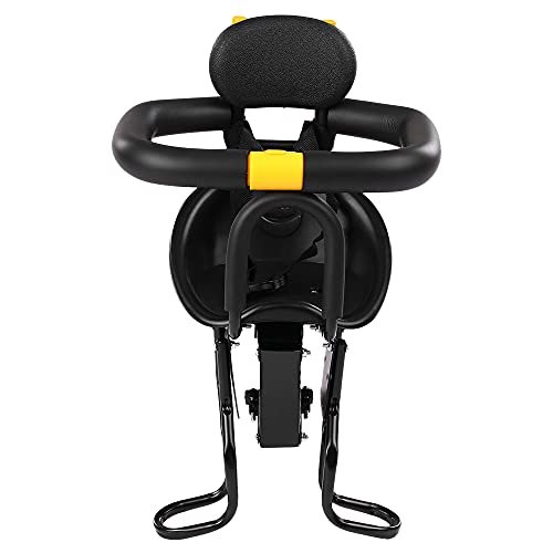IKAYAAA Sicherheit Kind Fahrradsitz Fahrrad Vorne Babysitz Kinder Sattel mit Fußpedale Unterstützung Rückenlehne für MTB Rennrad