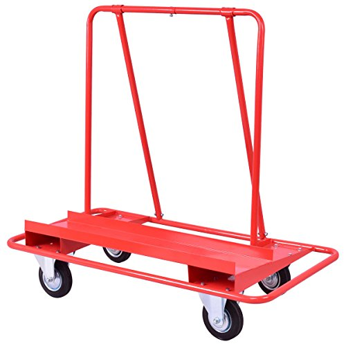 Goplus Drywall Sheet Cart Heavy Duty Dolly Handling Sheetrock Panel Red