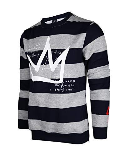 SCREENSHOTBRAND-F11963 Mens Urban Hip Hop Premium Fleece - Pullover Activewear Street Fashion Crew Neack Sweatshirt-H.Grey/Strip-Small