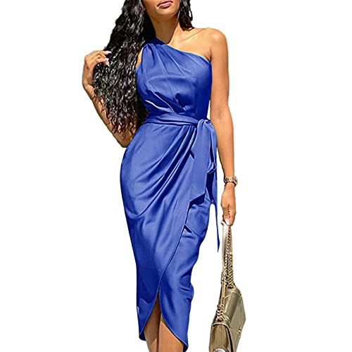 Geagodelia Vestiti di Raso Abito da Cerimonia Donna Elegante Taglie Forti S-3XL Vestiti Donna Eleganti da Sera Lunghi Monospalla per Festa Compleanno (Blu, Medium)