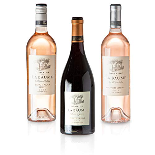Feinste Weine - Domain de la Baume - 3er Rose & Rotwein Probierpaket (3 * 0,75l)