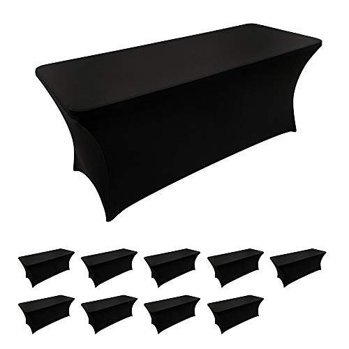 10 Pack Spandex Table Covers 6 Feet Stretch/Fitted Table Covers for 6 Feet Folding Table Rectangular Spandex Table Cloths for Wedding Party or Event by FELIZEST