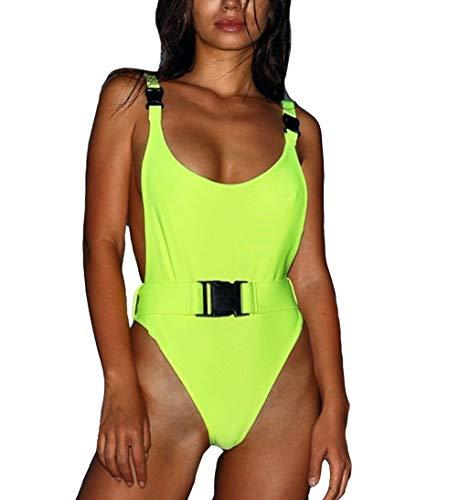 Eternatastic Women's One Piece Backness Swimsuits Monikini Bathing Suit L Green