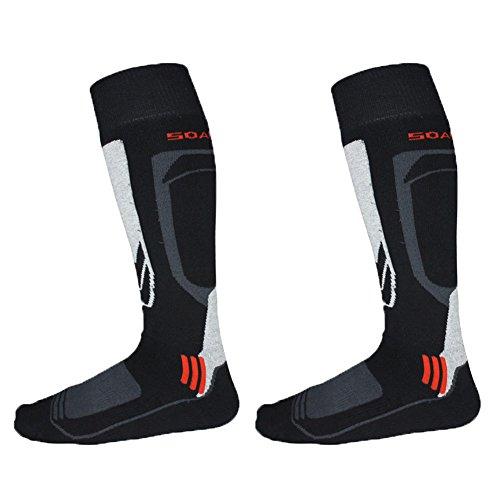 Barrageon 2 Pares Calcetines de Esquí de Invierno Térmico Calientes Para Esquiar, Snowboard, Senderismo, Escalada, Ciclismo, Trekking y otros Deportes Mejorado Calor Control de humedad Anti-Odor Anti-Bacteriano Calcetines Para Adultos Negro/gris(EU 43-46)