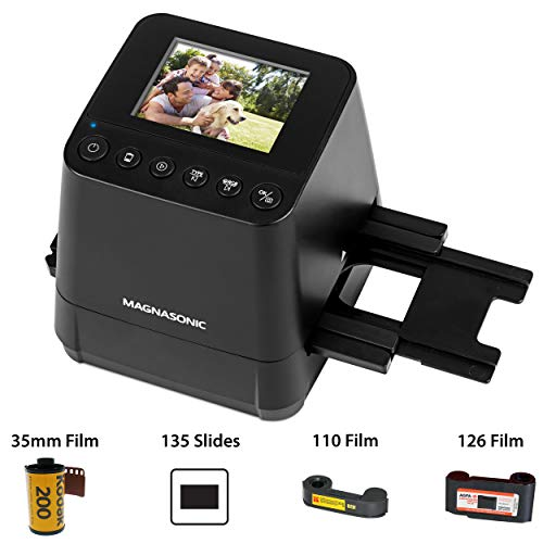 Magnasonic All-In-One Slide & Film Scanner, High Resolution 23MP, Converts 35mm/110/126 Negatives & 135 Slides into Digital Photos, Vibrant 2.4' LCD Screen, Built-In Memory, High Speed Scanning (FS51)