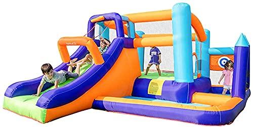 wangYUEQ Castillo Inflable Inflable Trampolín para niños Pequeño trampolín al Aire Libre con tobogán, Rebote, Piscina de Bola del océano, Anillo de Baloncesto, Escalada
