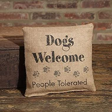 Small Burlap Dogs Welcome Pillow (8x8 )