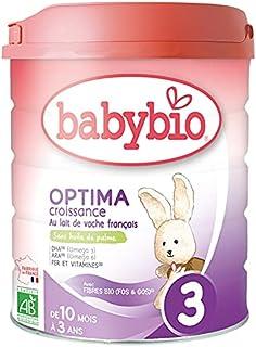 Babybio - Lait Infantile - Optima 3ème Âge avec Fibres - 800g - dès 10 Mois - BIO - Fabriqué en France - Sans Huile de Palme