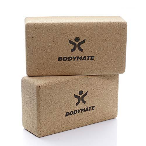 BODYMATE 2er Set Yoga Block aus Kork, Yogablöcke, Korkblock für Yoga, aus 100{7a23e5ebfeeab92f100eb7984c3ace9ce3fce320a0ed26dce4bfc6c7213ed826} ökologischem Kork, Training Support für Yoga, Pilates, Meditation & Entspannung, für Anfänger & Profis, 22 x 12 x 7,5 cm