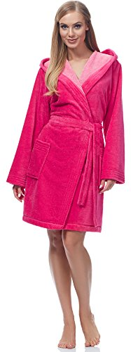 Merry Style Bata Corta con Capucha Vestidos de Casa Ropa Mujer MSLL1004 (Rosa/Rosa Claro, XL)