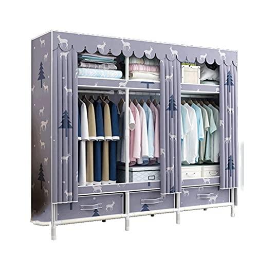 LICHUAN Armario de almacenamiento de armario, ropa portátil, armario de almacenamiento portátil, organizador de armario con barra para colgar para dormitorio, guardarropa