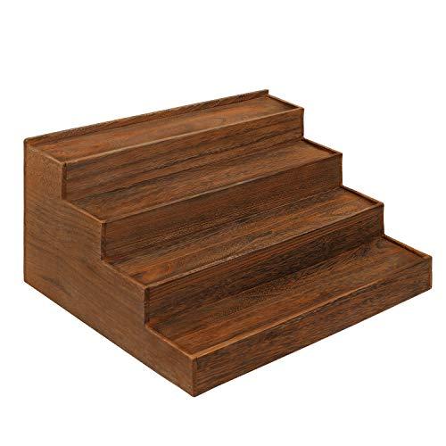 "Ikee Design 4-Tier Wood Stair Step Shelf Step Display Risers Wooden Countertop Tier Display Riser Dessert Cupcake Riser Wood Spice Shelf Racks Step Storage Organizer Shelf Wood, 15 1/2""W x 13""D x 7""H"