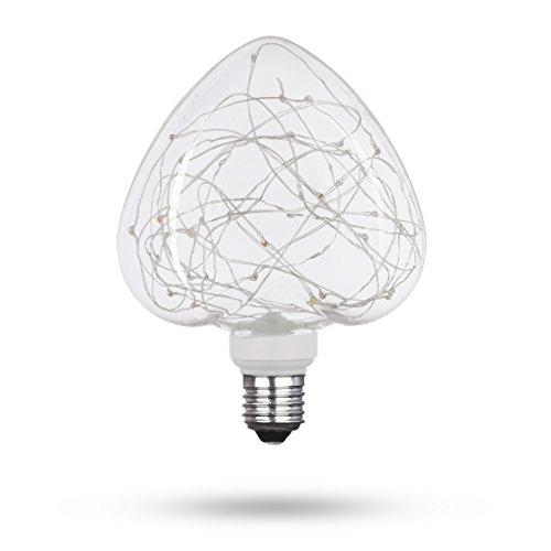 XQ-lite LSO-04031 LED-Leuchtmittel STARRY dekorative Lichterkette in herzförmiger Glühbirne, 50 lm, Glas, E27, 1.5 W, 19 x 13.2 x 8.3 cm