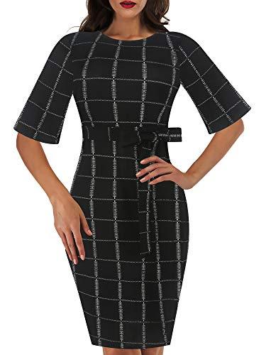 Sakaly SK301 - Vestido estampado elegante de trabajo para mujer (cuello redondo, con cinturón) -  Negro -  Small