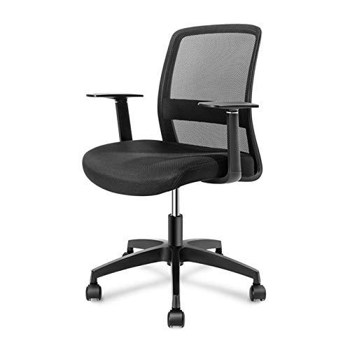 Silla oficina ejecutiva Silla de escritorio de oficina: silla de la oficina de tareas ergonómicas de malla negra de mediana espalda con brazos T - silla giratoria ajustable con soporte lumbar para ofi