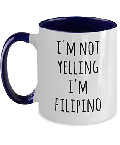 HollyWood & Twine Filipino Coffee Mug I'm Not Yelling I'm Filipino Funny Tea Cup Gag Gifts for Men and Women 11 Oz Accent Mugs