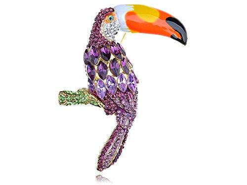 Alilang Womens Retro gouden toon paarse strass tropische regenwoud Toucan papegaai vogel broche pin