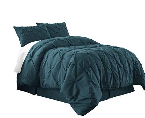 Chezmoi Collection Berlin 3-Piece Pintuck Pinch Pleat Bedding Comforter Set (King, Teal)