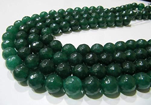 Shree_Narayani Verde Jade redondo facetado bola forma 10mm tamaño granos Strand 15