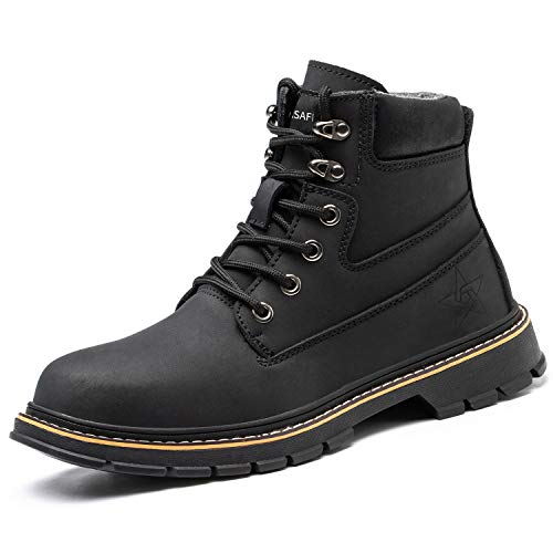 PAQOZKC Chaussures de Sécurité Hommes Femme Montante Hiver Chaussures de Travail avec Embout de Protection en Acier Imperméable Baskets de Sécurité(916/black/42)