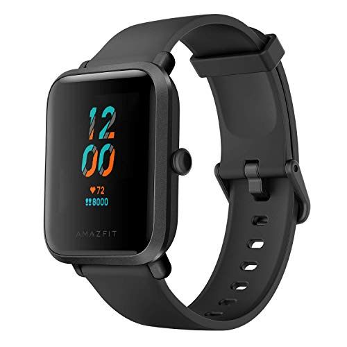 Amazfit Bip S Smart Watch Fitness Watch with Heart Rate Monitor, Sports Watch with 10 Sports Modes, 15 Days of Battery Life, 5 ATM Waterproof, GPS, Music Control, Black