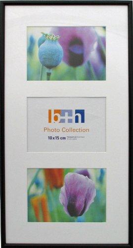 bh+ Bilderrahmen 23 x 44 schwarz mit 3 er Passepartout Bild-Größe 10 x 15 Echt-Glas Collagen-Rahmen Foto
